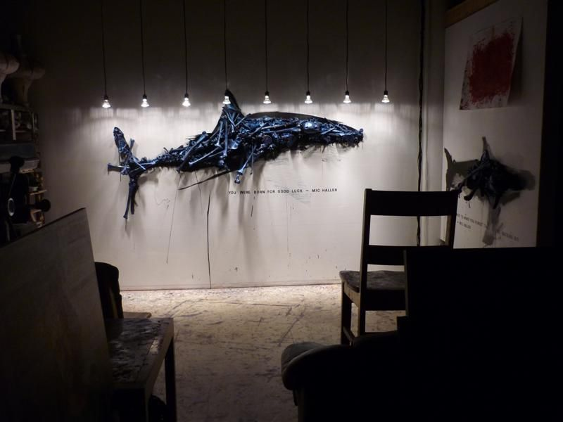 I took this photo from further back in my studio to show how the shark installation  would look in a darkened gallery setting.