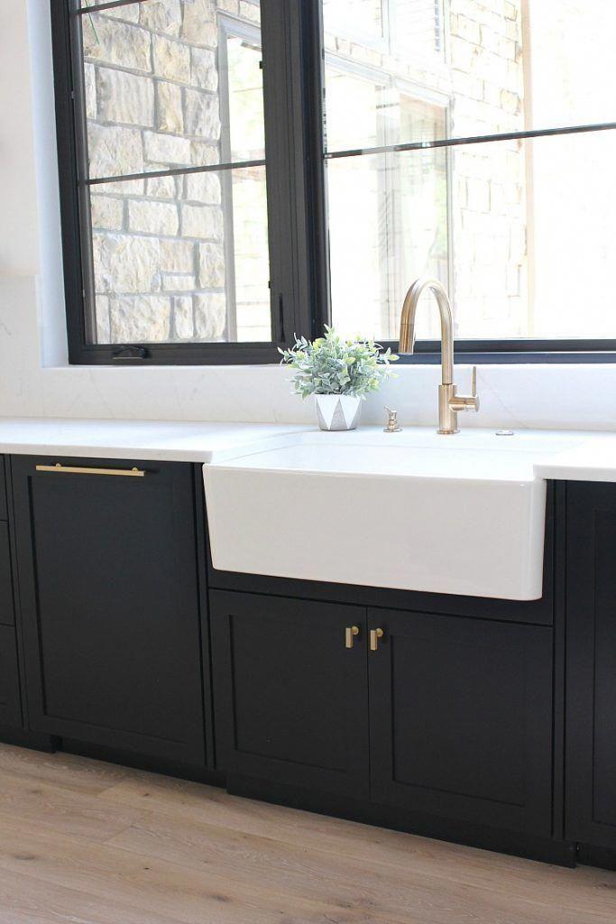 Best Modern Kitchen Black Cabinets Open Shelves White Farm Sink 400 x 300