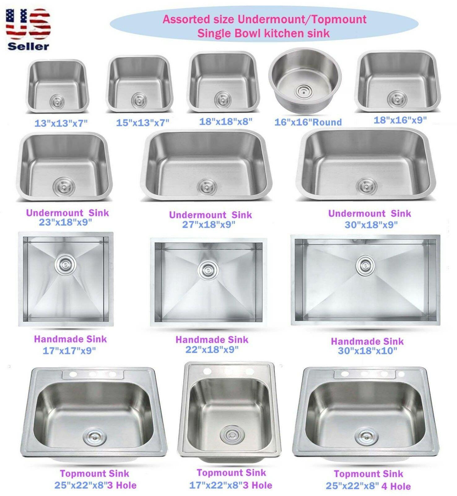 Stainless Steel Topmount Undermount Single Bowl Kitchen Sink