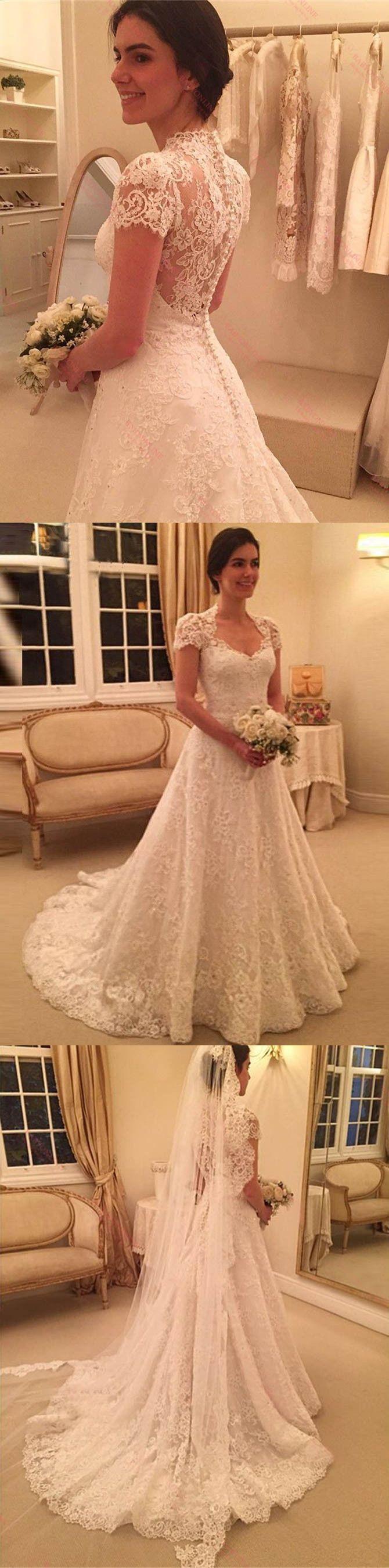 Delicate weddin dress scoop short sleeves wedding dress long lace