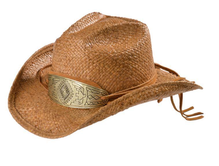 dc36fb2ba Shady Brady Antiqued Gold Concho Crushable Raffia Straw Cowboy Hat ...