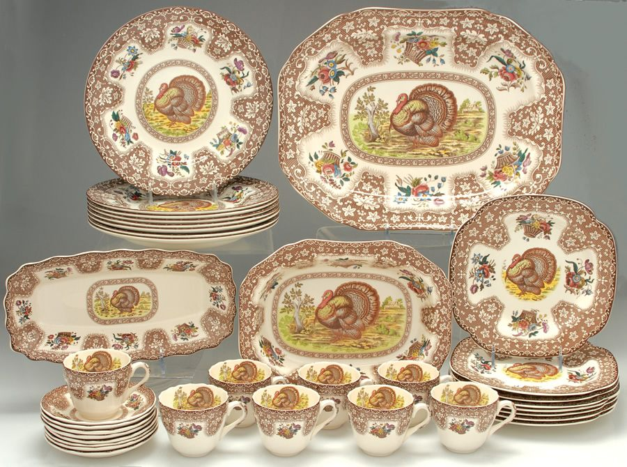 thanksgiving dinnerware sets service for 12 thanksgiving brown multicolor by spode at replacements - Thanksgiving China Patterns