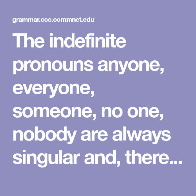 The Indefinite Pronouns Anyone Everyone Someone No One Nobody