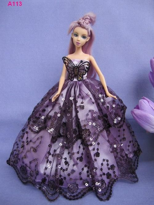 Purple Sequenced Barbie Doll Ball Gown Dress With Butterfly