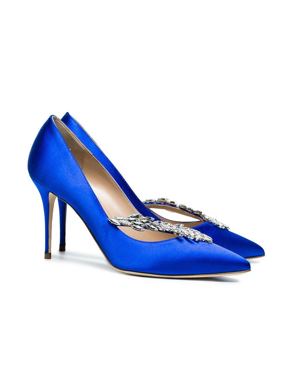81bf5c4c8 Manolo Blahnik Blue Satin Nadira Jewel 90 Pumps - Farfetch
