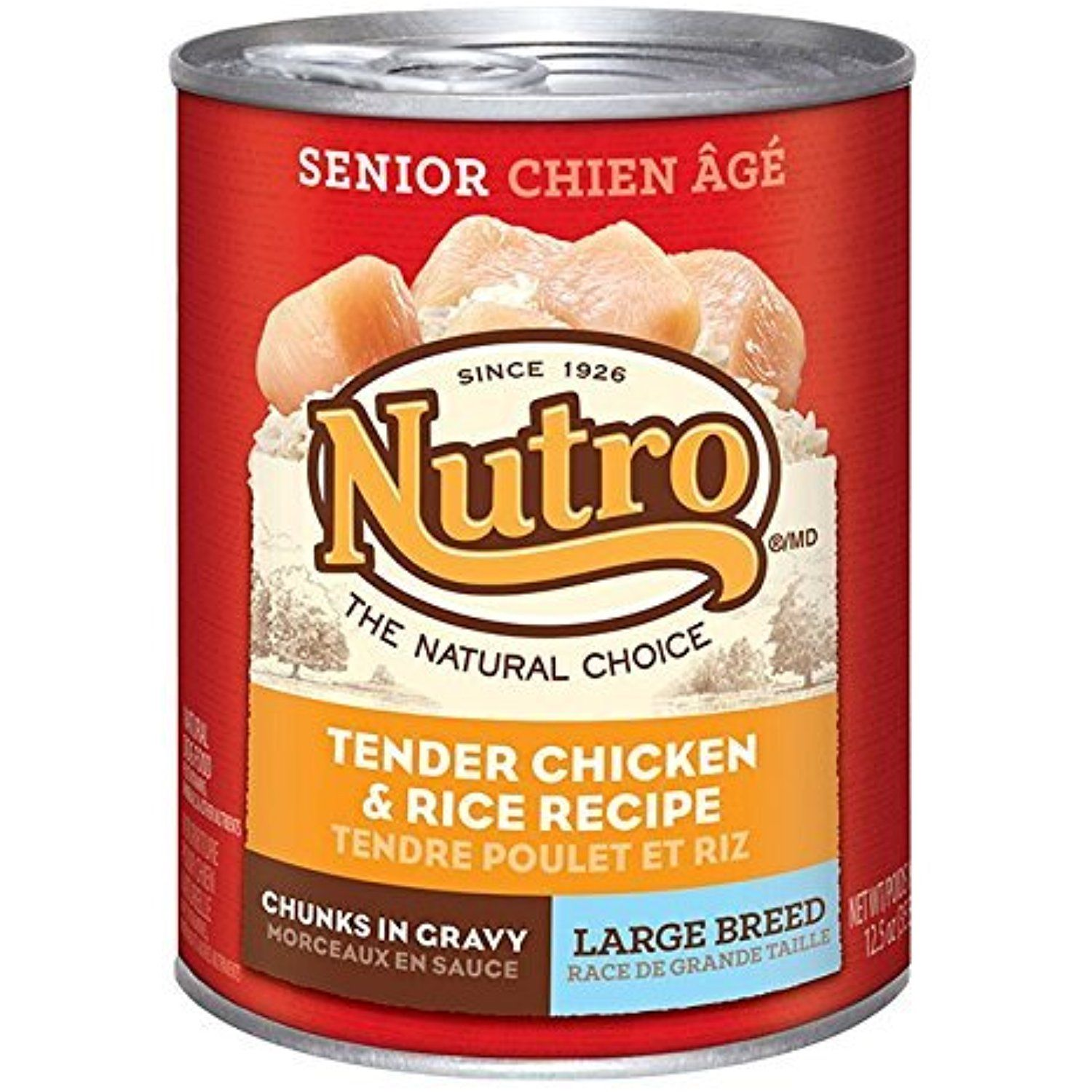 Nutro large breed senior chicken and rice canned dog food