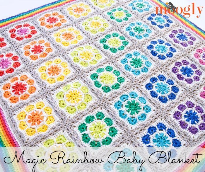 Magic Rainbow Baby Blanket: Free #Crochet Pattern! | Colchas y ...