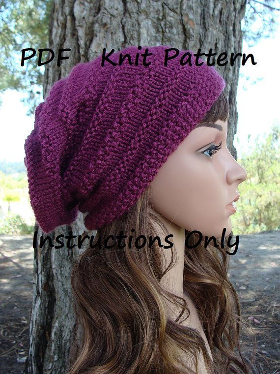 Diy Knitting Pattern 6 Womens Slouchy Beehive Knit Hat Pattern