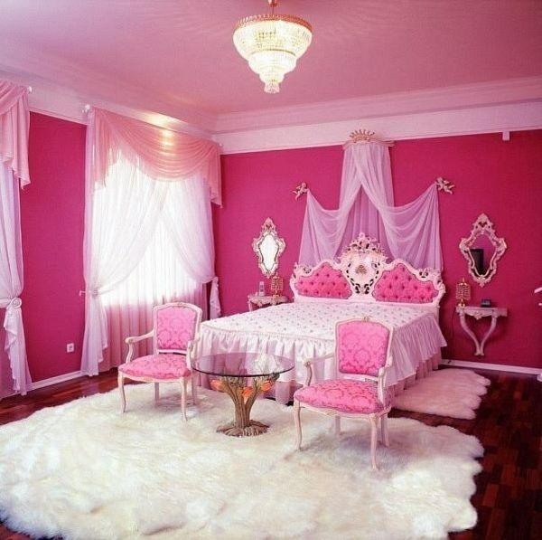 Luxus Jugendzimmer Mädchen Rosa Wand Himmelbett Weißer Teppich