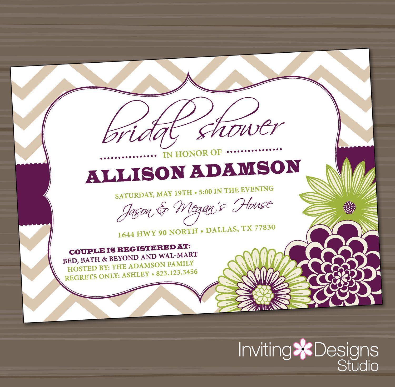 Wedding Shower Invitation, Bridal Shower, Chevron, Floral, Purple ...