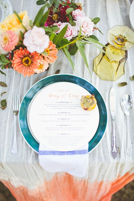 Table top details from Amy & Craig's wedding // Loot goblets, tea towels and dip-dyed table runners! Florals by Birddog Blooms and photographed by The Nichols.