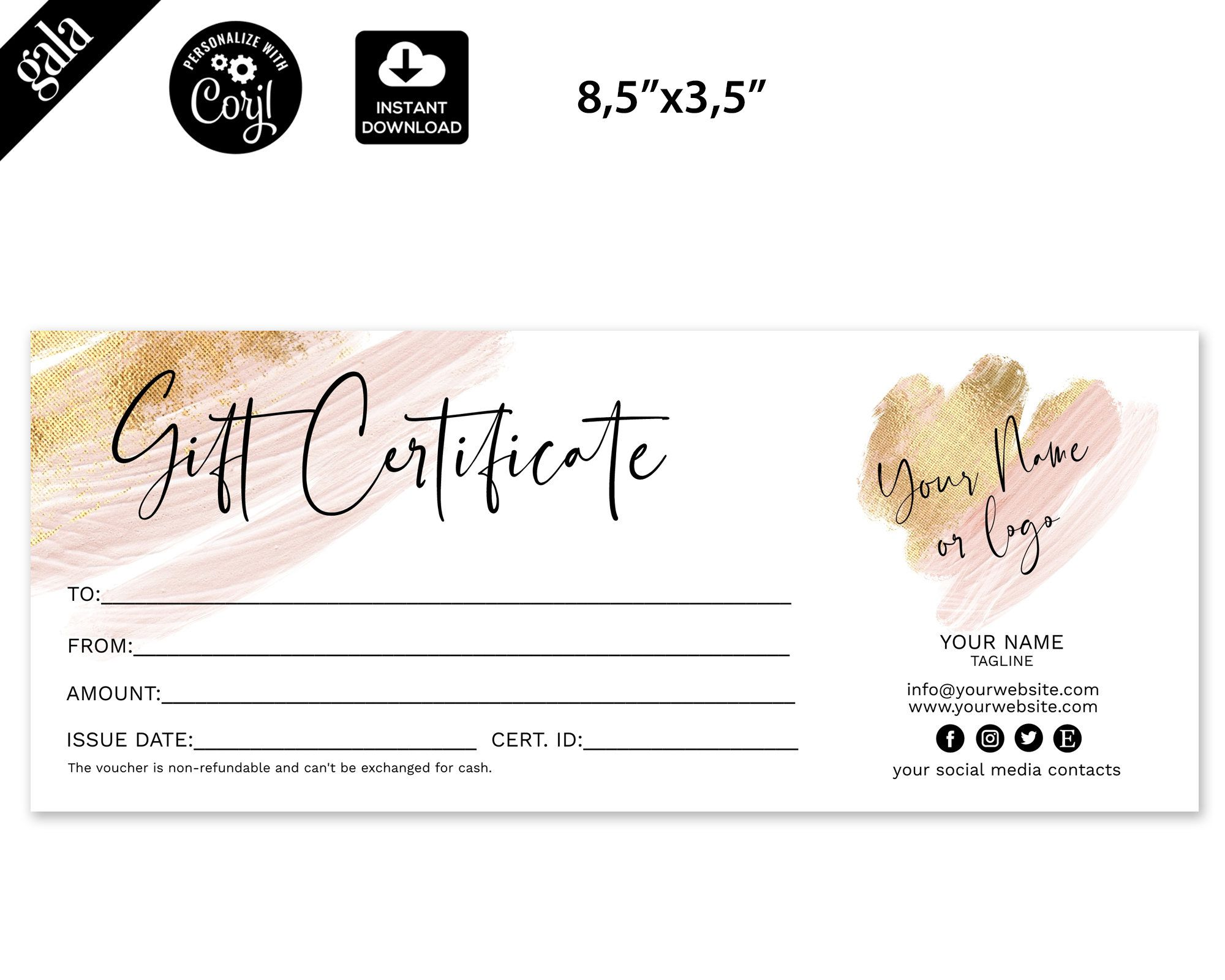 Gift Certificate Template Add Your Logo Printable Gift Card Etsy Gift Certificate Template Printable Gift Cards Soap Labels Template
