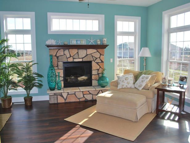 Beachy Living Room Wall Colors Valance Curtains For Beach Inspired Sunrooms Sun Sunroom Home House Don T Care The Accessories But Love That Color And Dark Floor With White Windows Will Look Good My Wicker