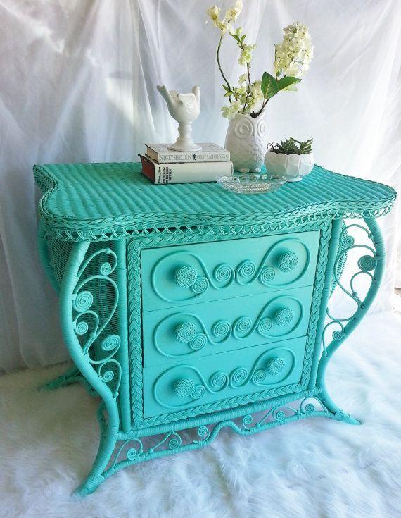 Vintage Victorian Wicker Dresser Buffet Chest Of Drawers