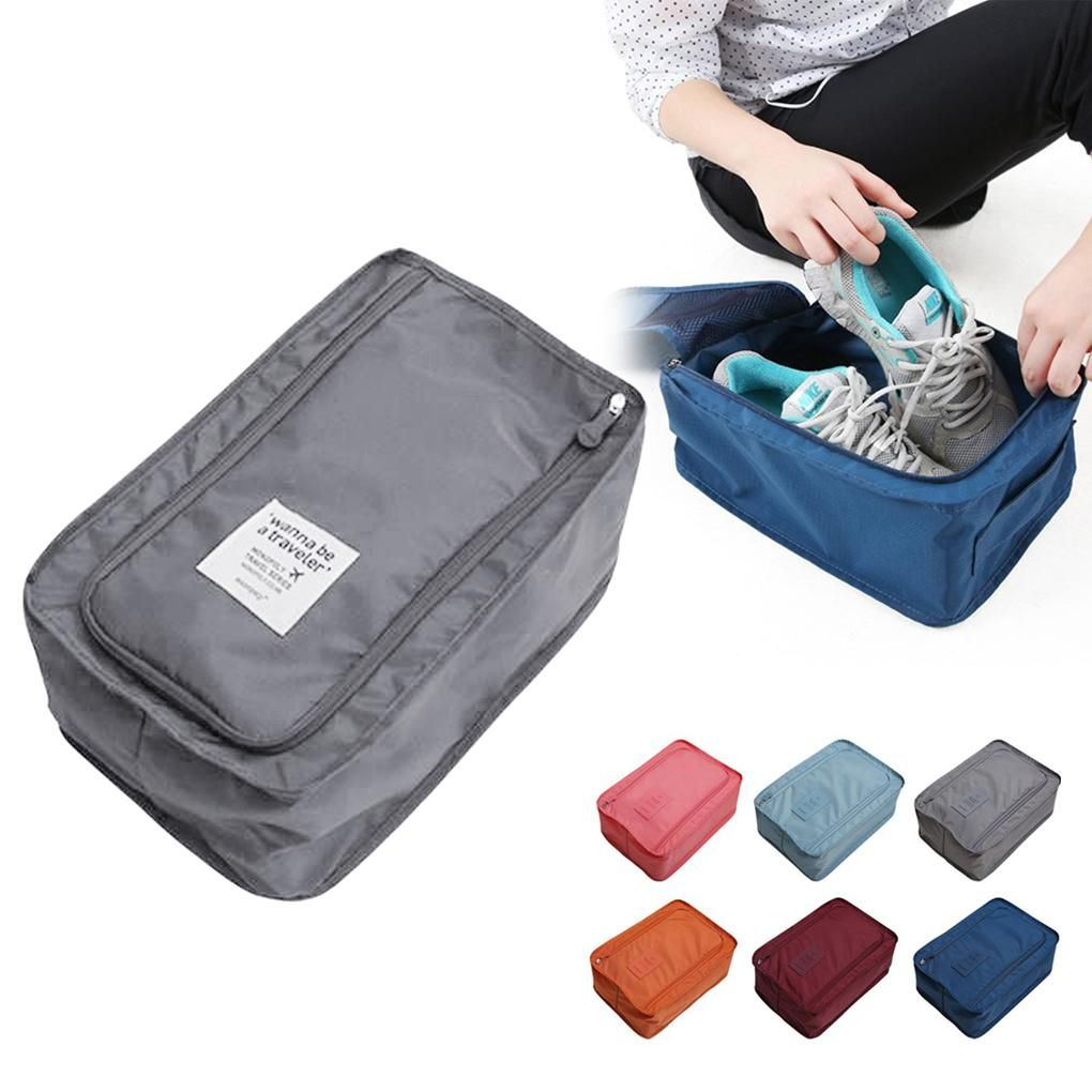 Shoe Organizer Convenient Polyester Waterproof Tote Large Travel Home Sorting Pouch Zipper Storage Bag Portable Foldable Storage Bags