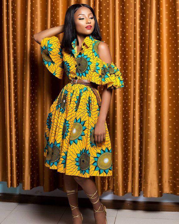 African Print Senegal Midi Dress: African Print Midi Dress- Cold Shoulder Dress