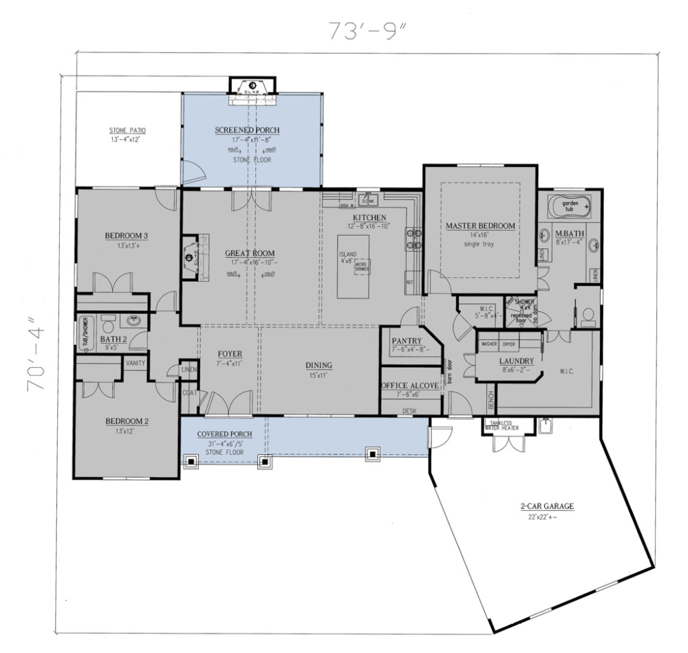 Craftsman Style House Plan - 3 Beds 2 Baths 2096 Sq/Ft ...