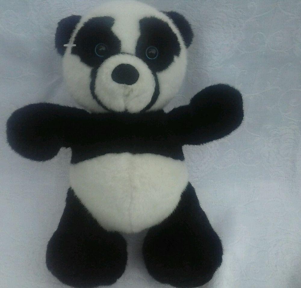 "Woo Wee Panda Teddy Bear Plush black & white stuffed animal toy. 9"" #woowee"
