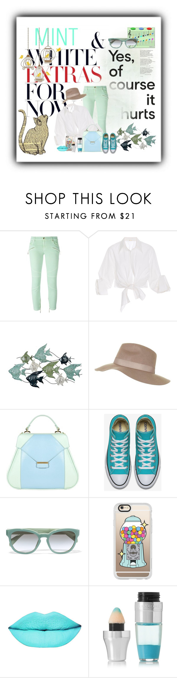 """""""Mint and White - Of course it hurts"""" by no-where-girl ❤ liked on Polyvore featuring Just Cavalli, Johanna Ortiz, Topshop, Aevha London, Music Notes, Prada, Casetify and Lancôme"""
