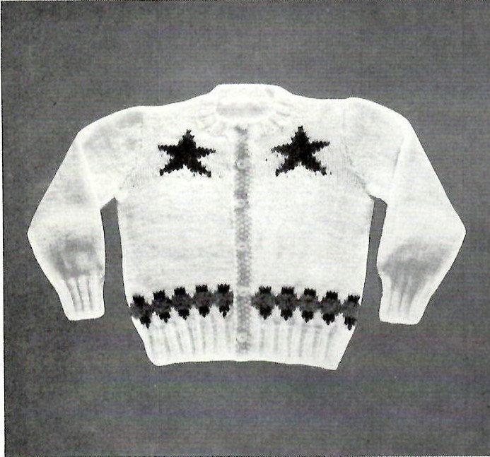 Two Star Sheriff Sweater Knitting PATTERN 1950s Western Cowboy ...