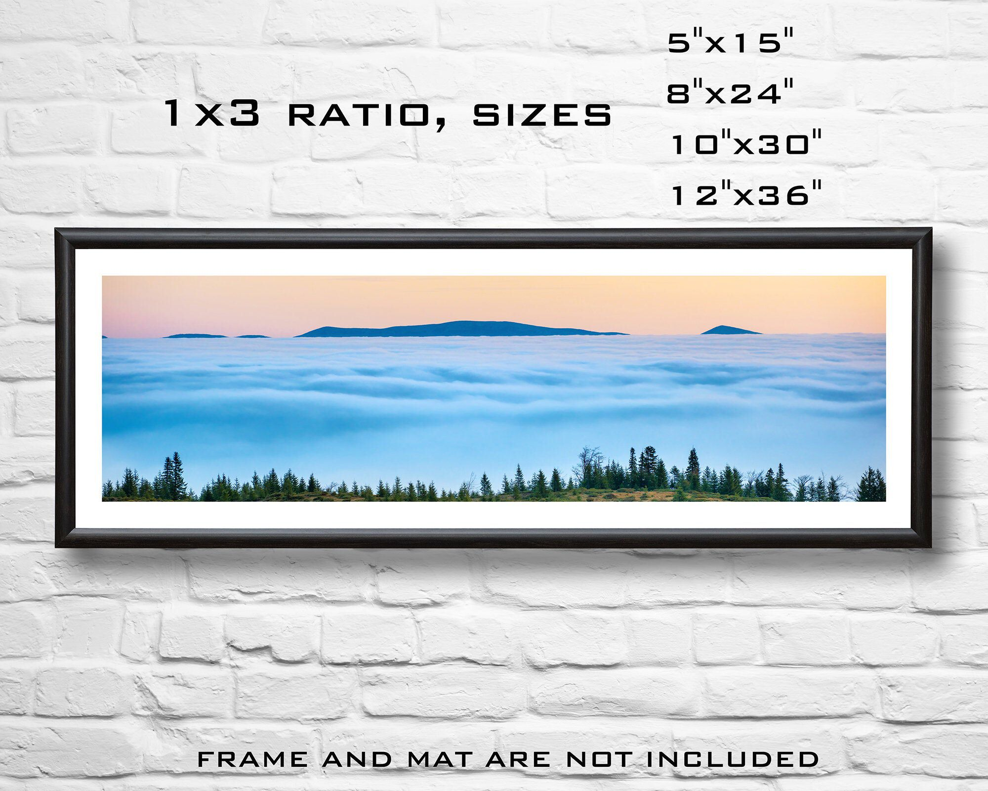 7 99usd Only Top Of The Mountains In The Clouds Panorama With Forest And Sunset Sky Sunset Wall Art Panoramic Print Panorama