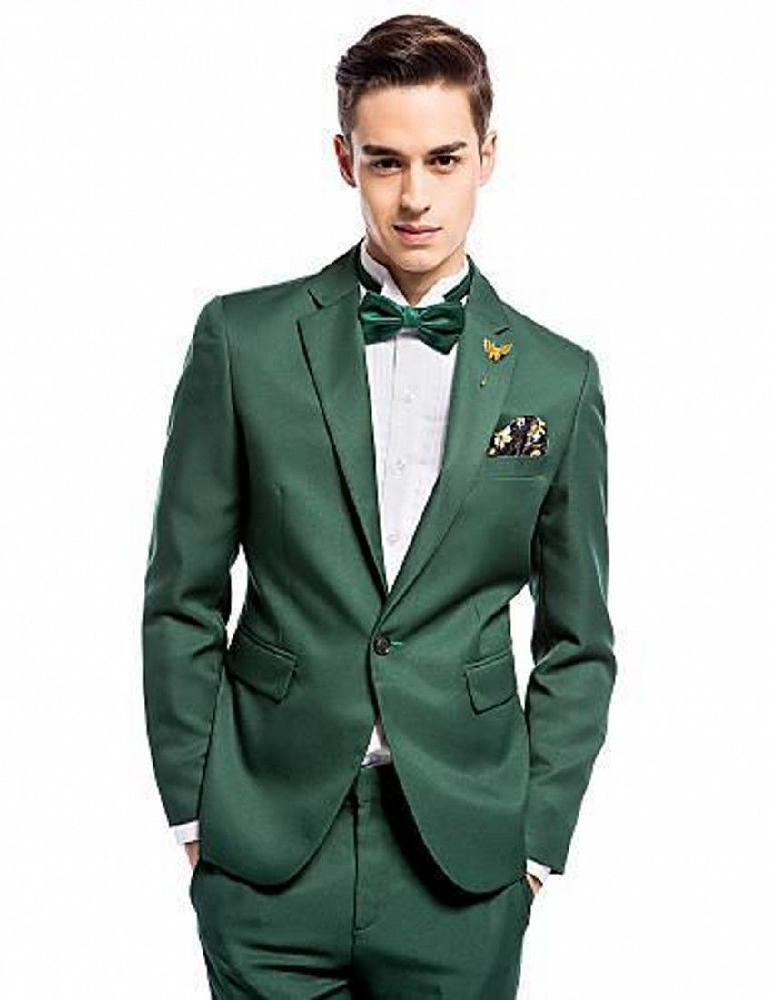 new dark green satin groom tuxedos piece slim fit mens