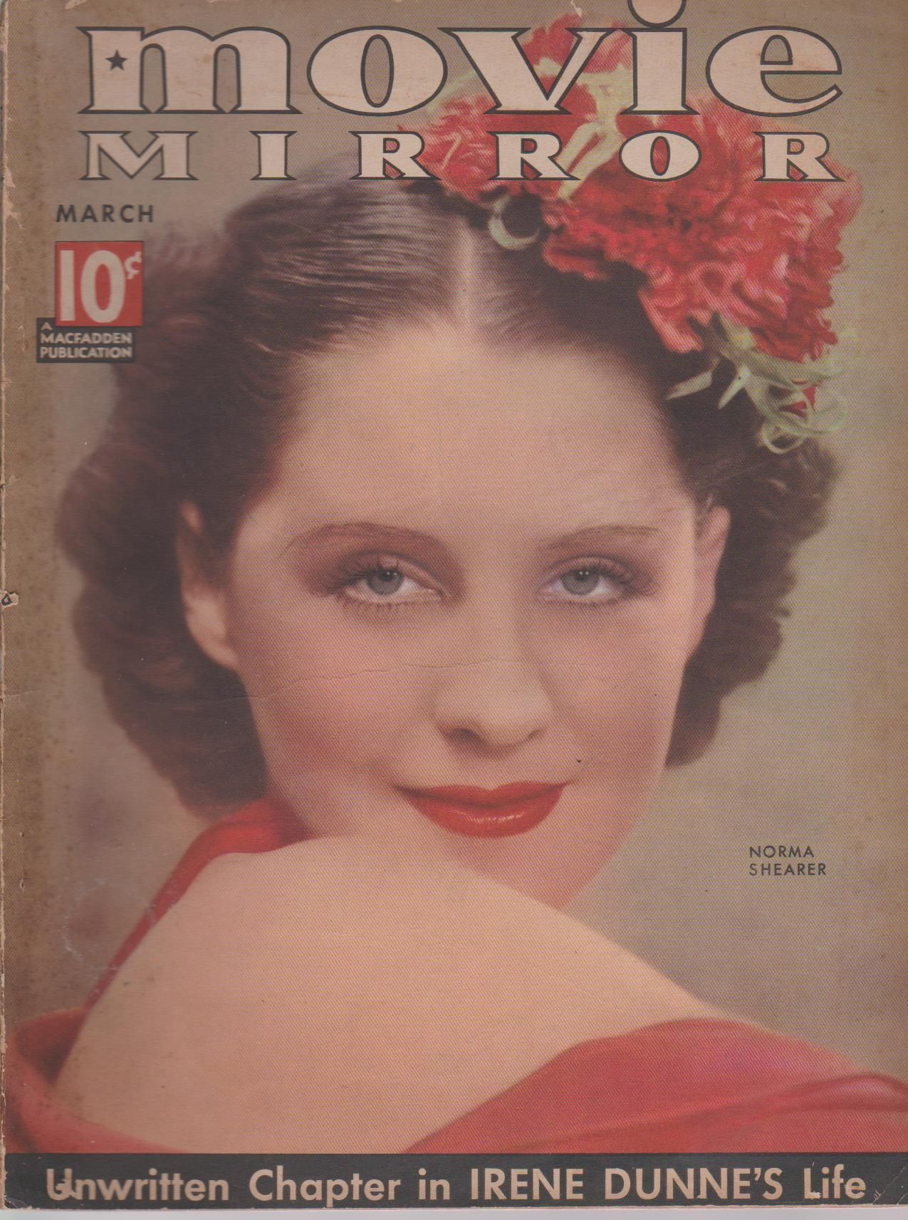 Norma Shearer on the March 1936 Movie Mirror Norma