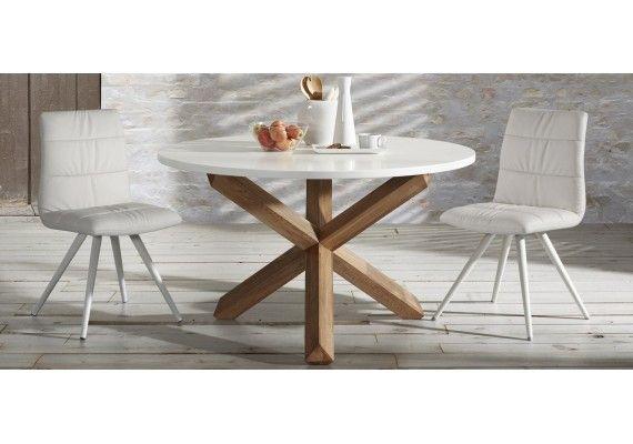 Mesa redonda Nori, patas en roble encimera blanca, estilo nordico ...