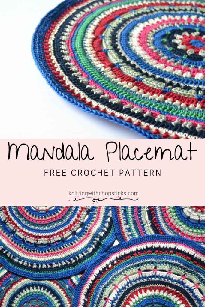Mandala Free Placemat Crochet Pattern Knitting With Chopsticks Placemats Patterns Crochet Placemats Crochet Placemat Patterns