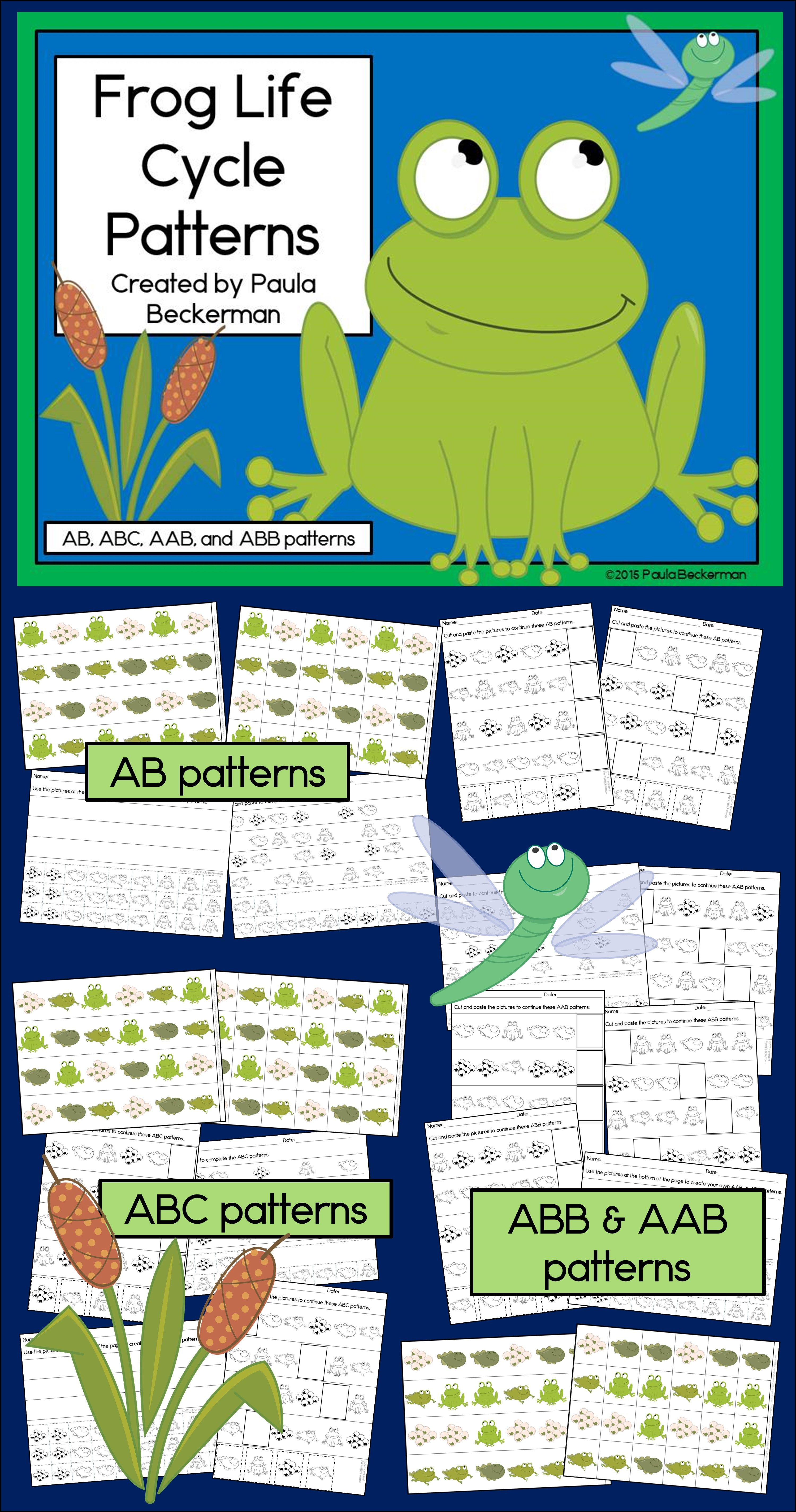 Frog Patterns Math Center With Ab Abc Aab Amp Abb Patterns