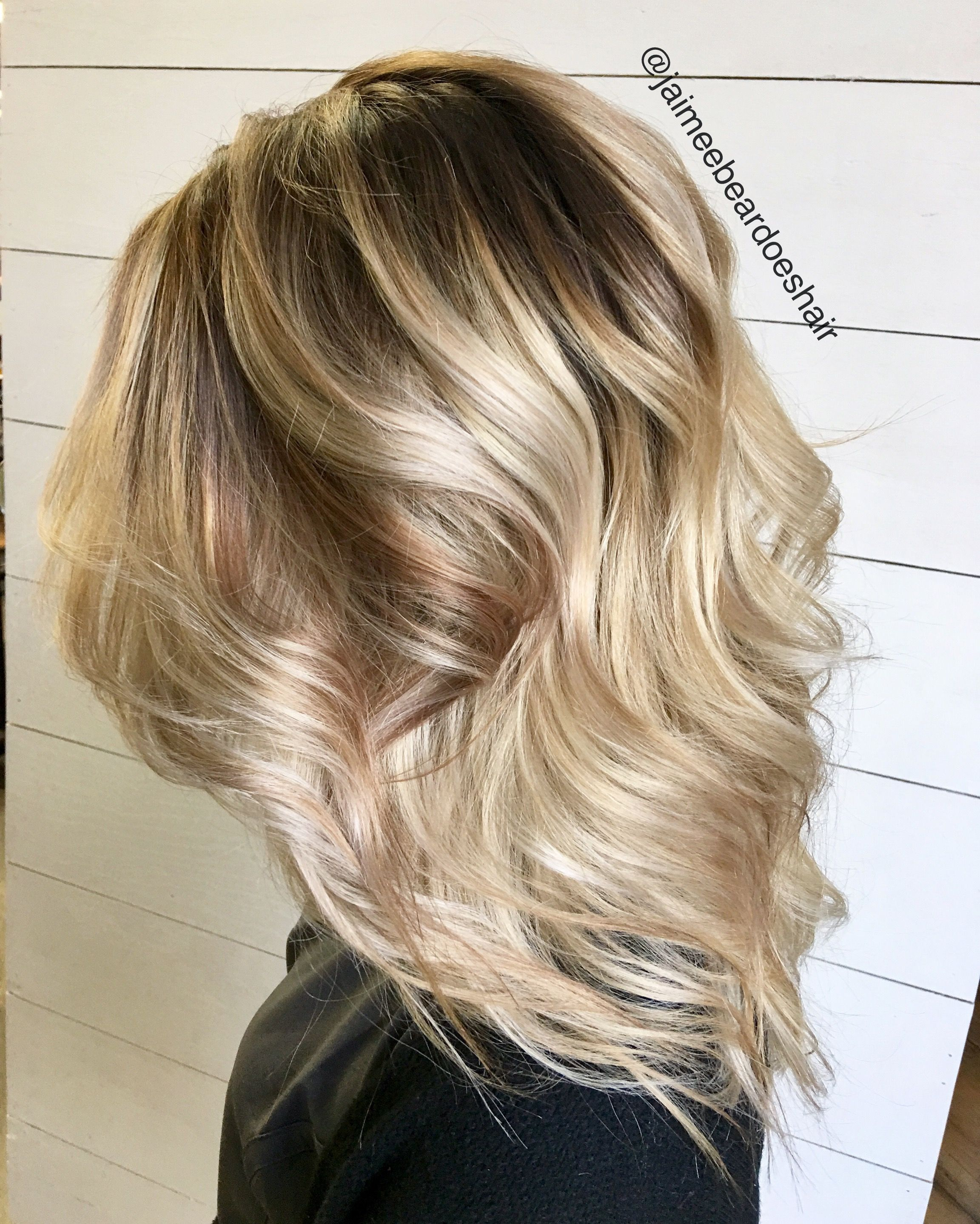 Blonde Bayalage Ombre With Dark Brown Shadow Root Lived In Hair