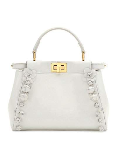 V3FF8 Fendi Mini Peekaboo Floral-Embellished Satchel Bag, White ...
