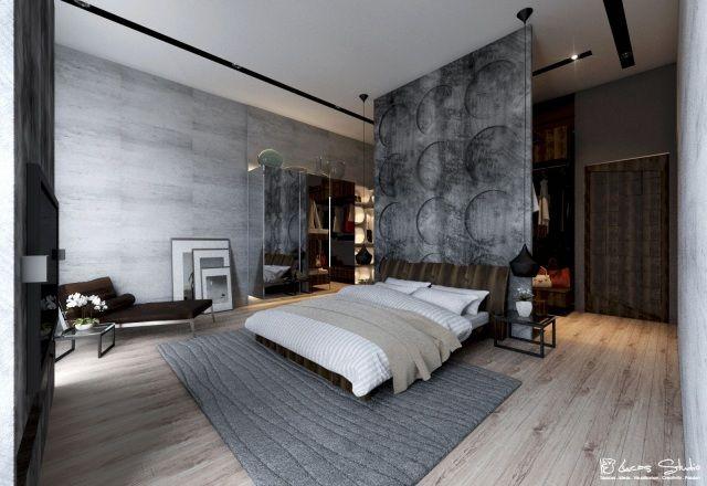 Wunderbar Modernes Schlafzimmer Sichtbeton Wand Optik Holzboden