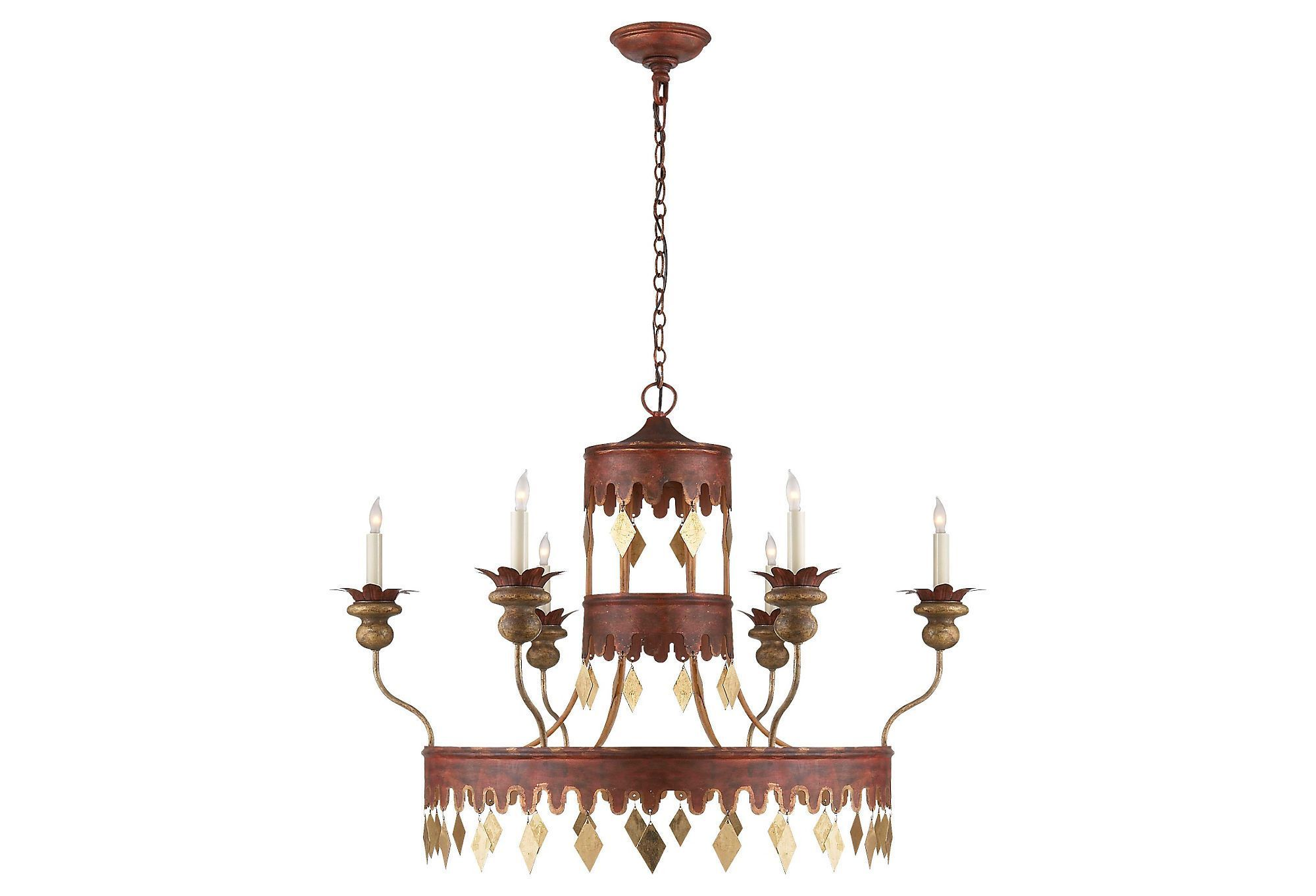 Xavier 6 light chandelier redgold tole all aglow one kings xavier 6 light chandelier redgold tole all aglow one kings arubaitofo Images