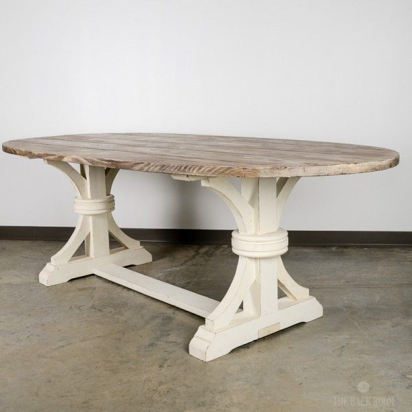 Rustic Oval Dining Table With White Base