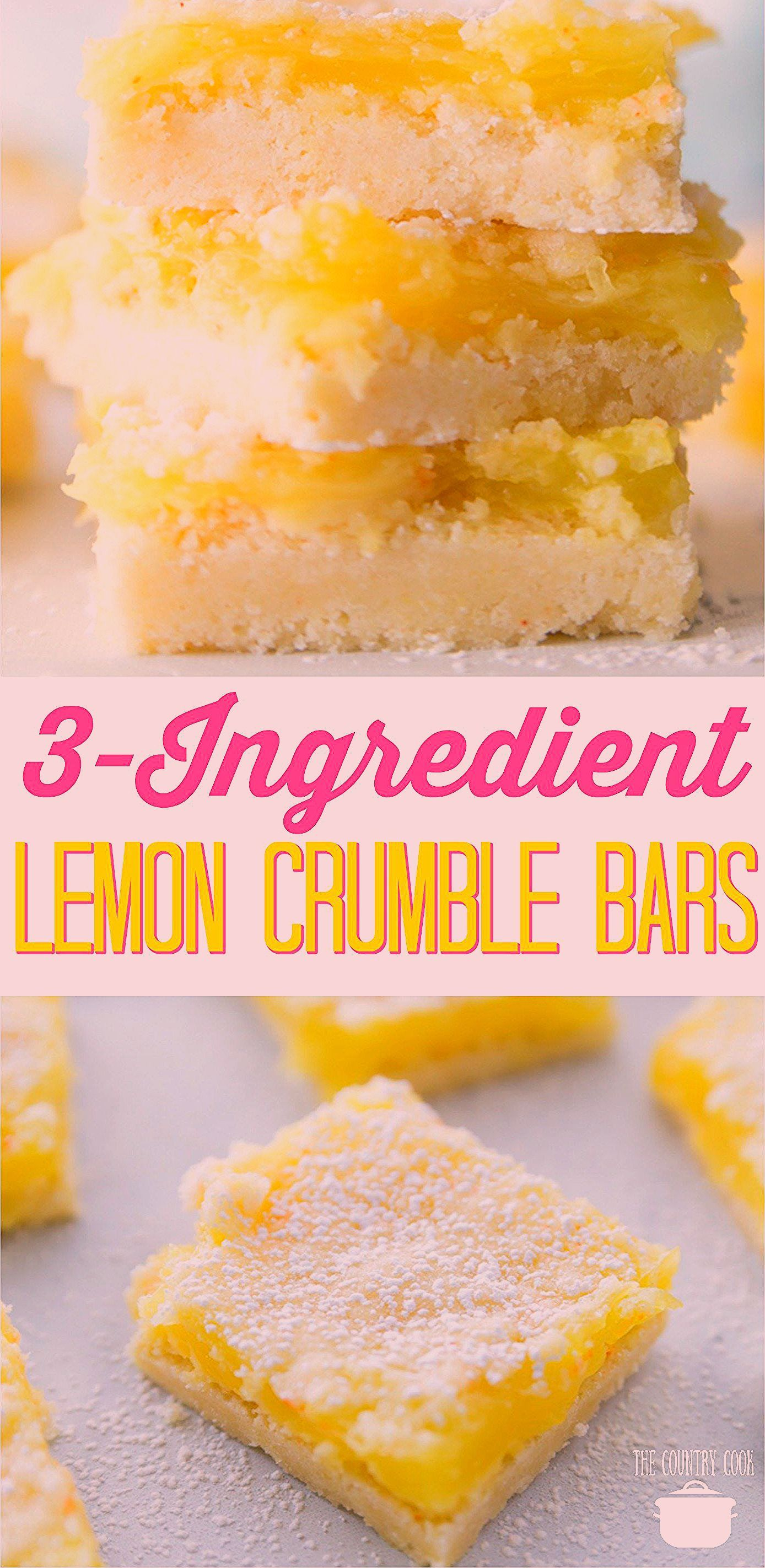 Photo of 3-INGREDIENT LEMON CRUMBLE BARS | The Country Cook