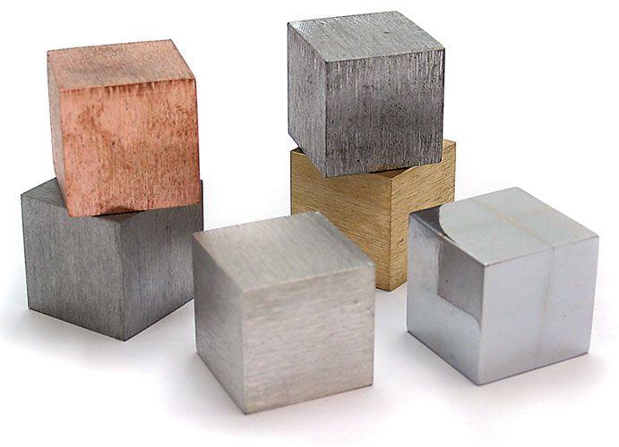 Density Cubes Six Metals Metal, Cube, Wood jewelry display
