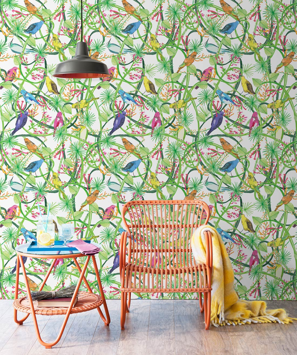 Vines Bright Bold Colorful Very Tropical Wallpaper Milton King In 2020 Tropical Wallpaper Wallpaper Mural Wallpaper