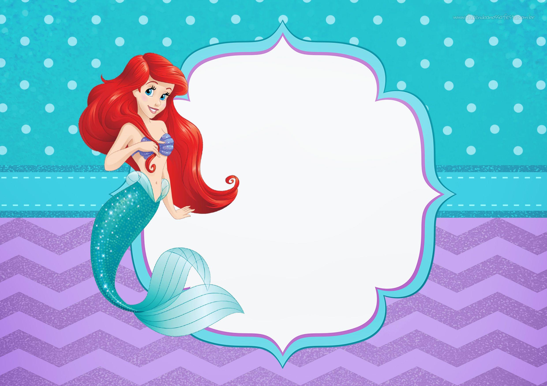 Convite Para Festa Pequena Sereia Ariel Festa Pequena Sereia