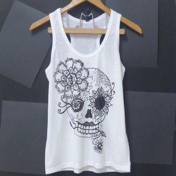 Sale Vintage flower skull tank top ,sugar skull, WHITE gothic,skeleton top Women shirt, teen singlet size S,M,L singlet t shirt blouse