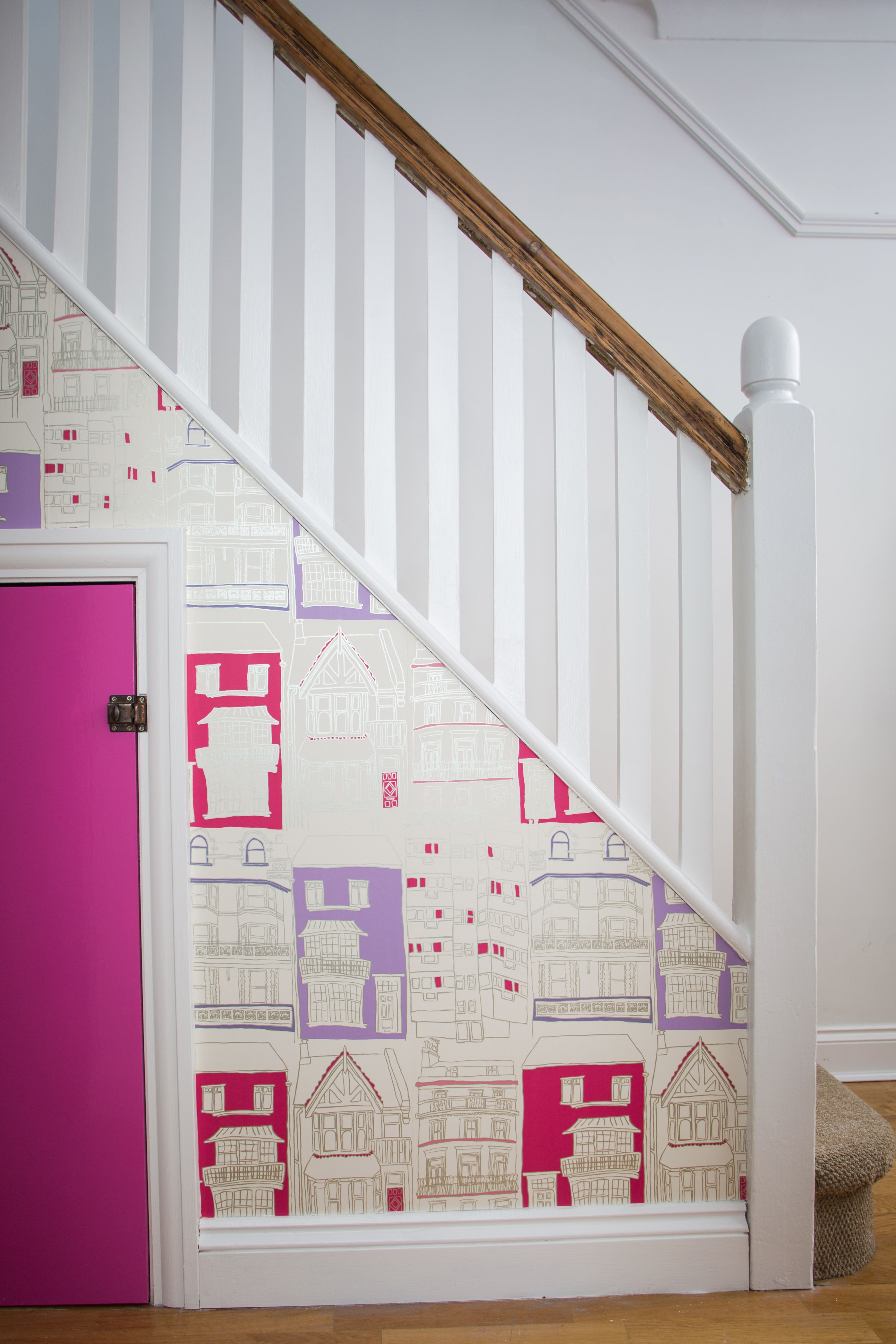 Hallway and stairs wallpaper  Wallpaper the side of a staircase for a quirky look and use paint in