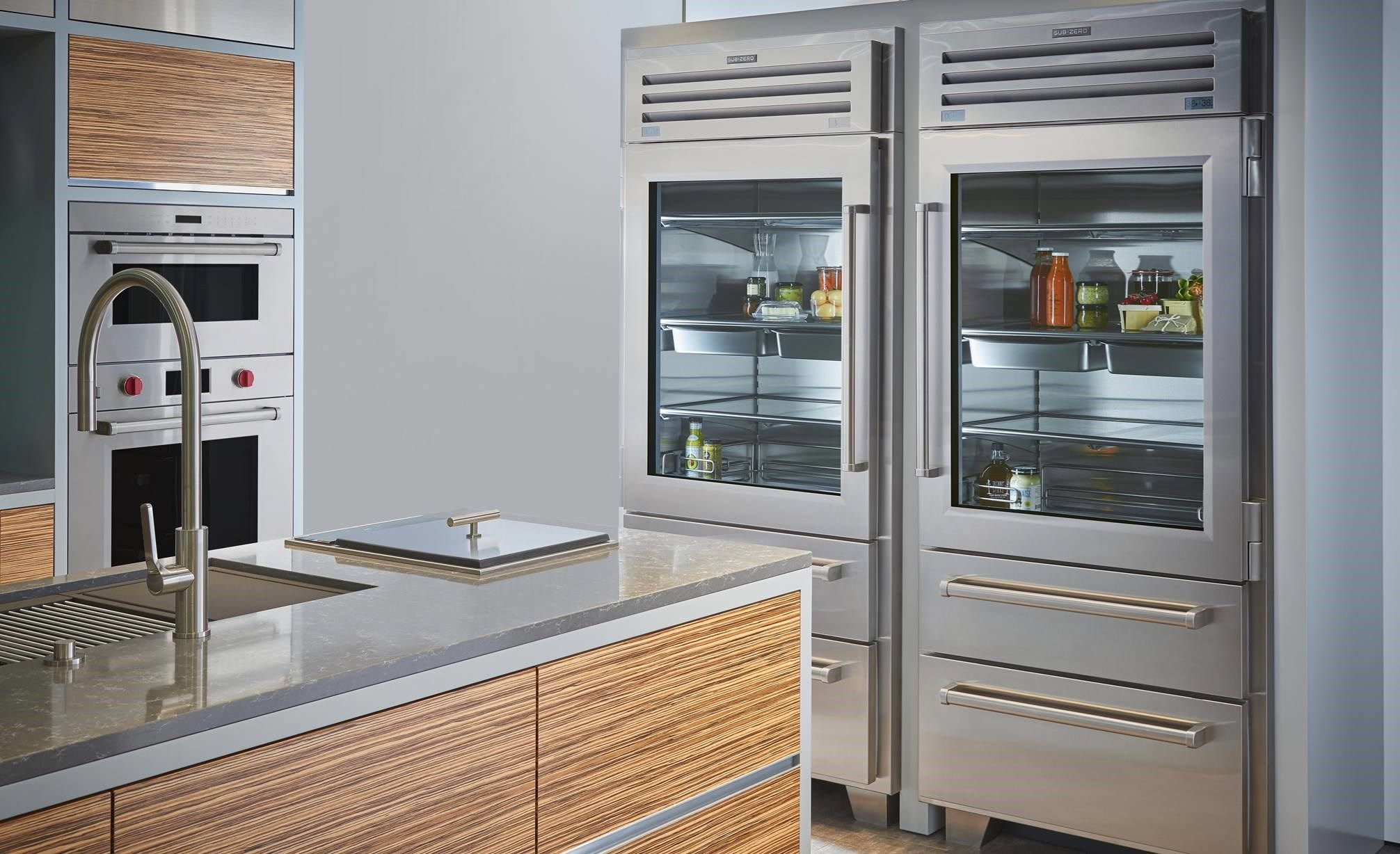 "Sub Zero Glass Door Refrigerator 36"" pro refrigerator/freezer with glass door | refrigerator"