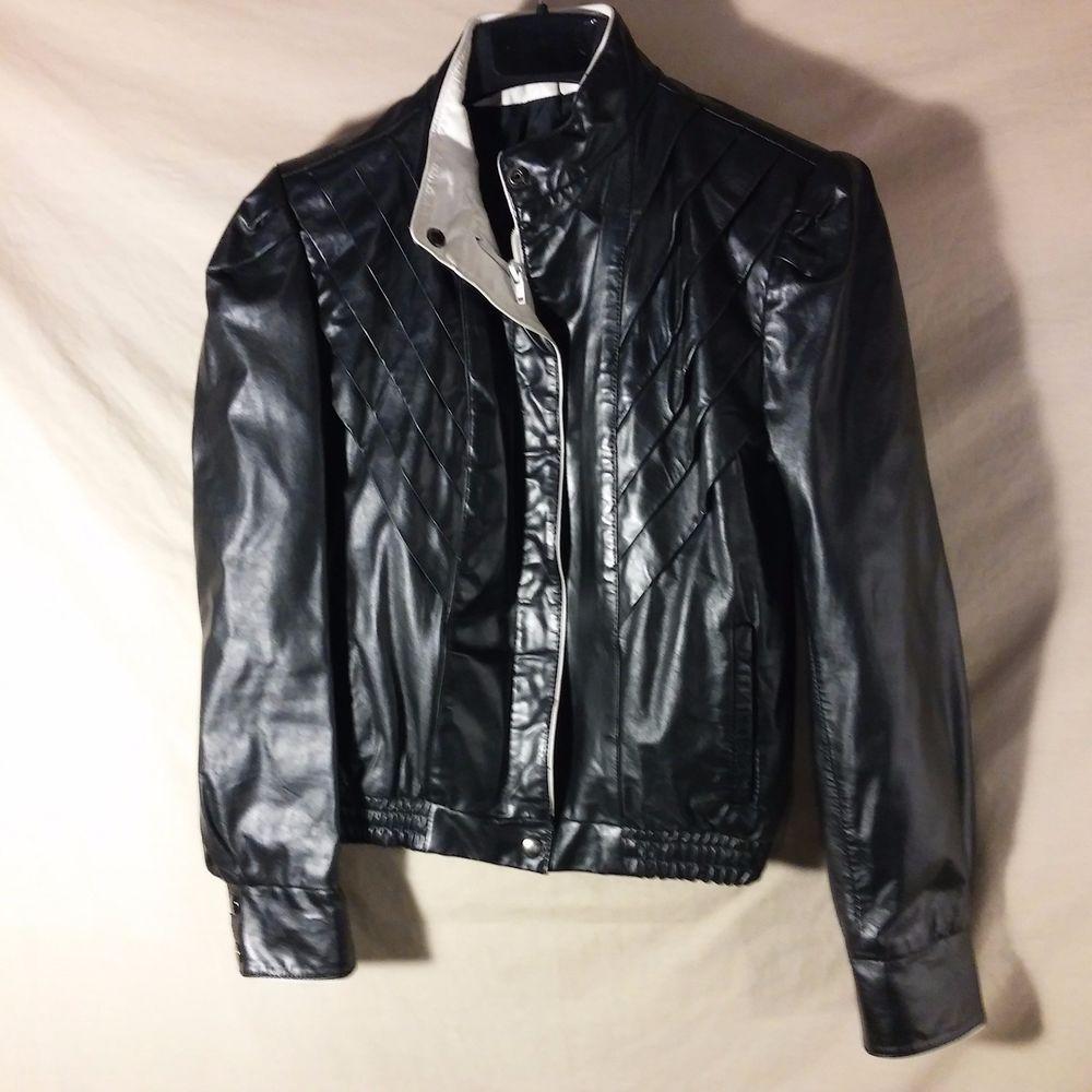 VINTAGE Women's Berman's Leather Black & White Retro 70's Cafe Jacket Coat-12 #Bermans #Motorcycle