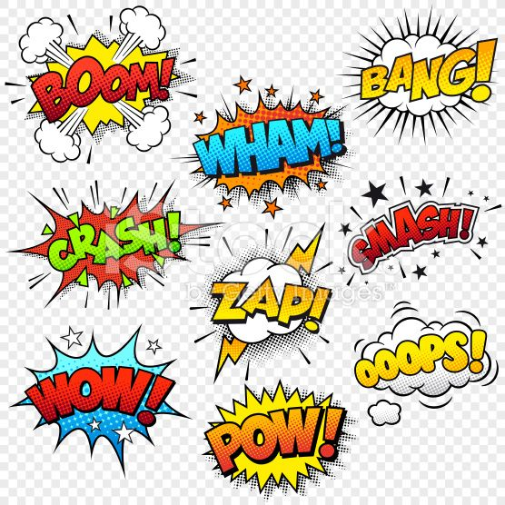 Collection Of Nine Multicolored Comic Sound Effects This Graphic Set Comic Sound Effects Pop Art Art Projects