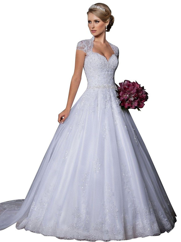 VERNASSA Ball Gown Sweetheart Detachable Train Lace