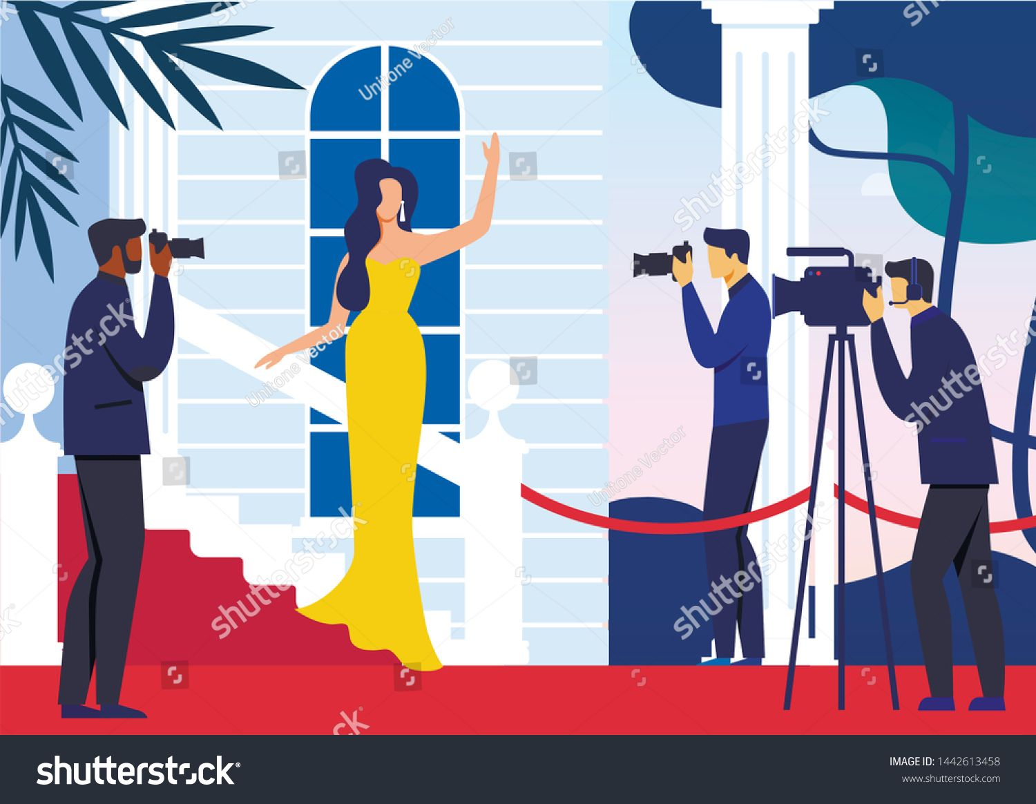 Celebrity On Red Carpet Flat Vector Illustration Famous Woman In Fashionable Dress And Paparazzi Cartoon Char In 2020 Famous Cartoons Illustration Vector Illustration
