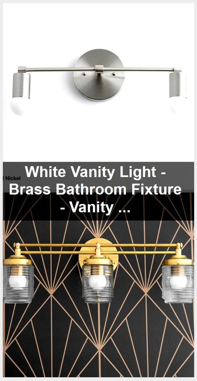 Photo of White Vanity Light – Brass Bathroom Fixture – Vanity Lighting – Vanity Sconces –  Mid Century…
