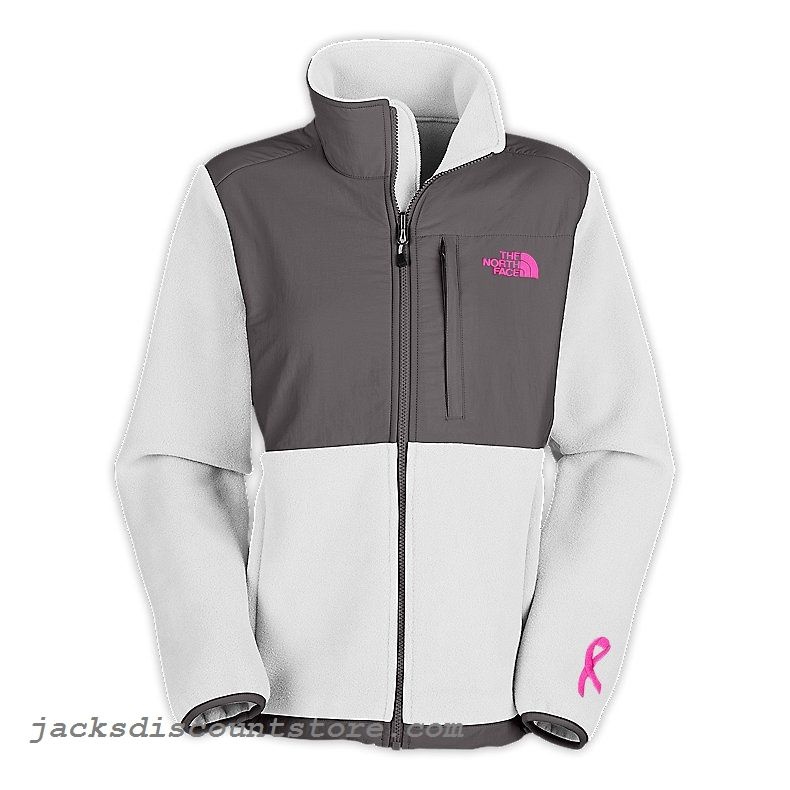 North Face Women Pink Ribbon Denali Jacket outlet White