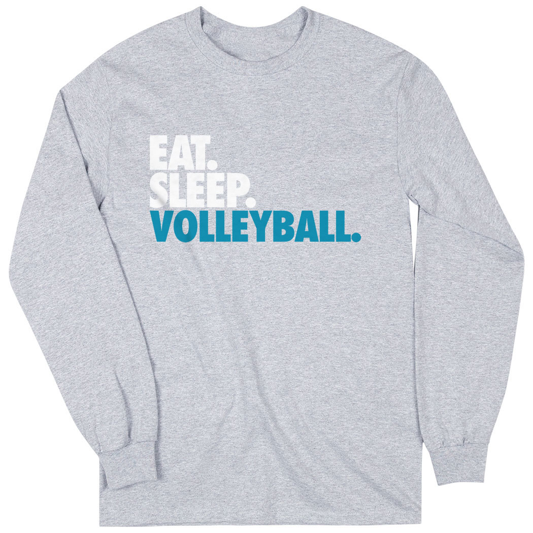 Volleyball Long Sleeve T Shirt Eat Sleep Volleyball Sport Gray Women S S Volleyball Apparel Softball Outfits Soccer Outfits Hockey Clothes