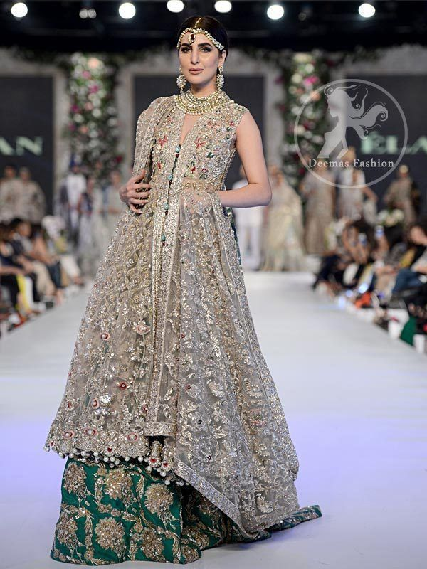 d2a9630c02 Fawn Bridal Frock - Emerald Green Embroidered Lehenga   wedding ...